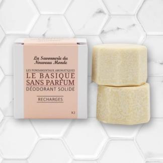 lot de 2 recharges de déodorant solide sans huile essentielle la savonnerie du nouveau monde