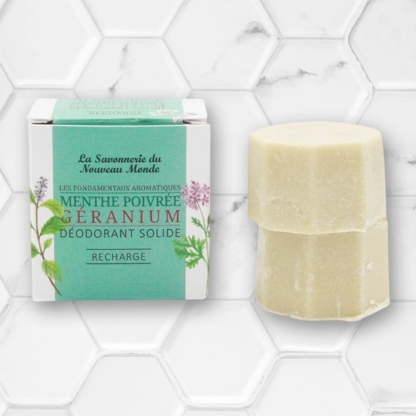 recharge de 2 déodorants solides menthe poivrée et géranium la savonnerie du nouveau monde