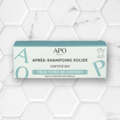 boite après-shampoing solide bio APO France