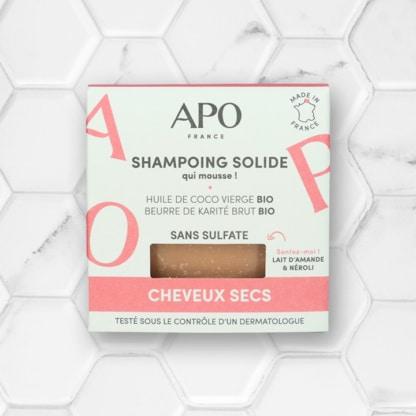 boite shampoing solide pour cheveux secs APO france