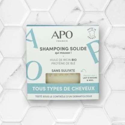 boite shampoing solide tous types de cheveux APO france