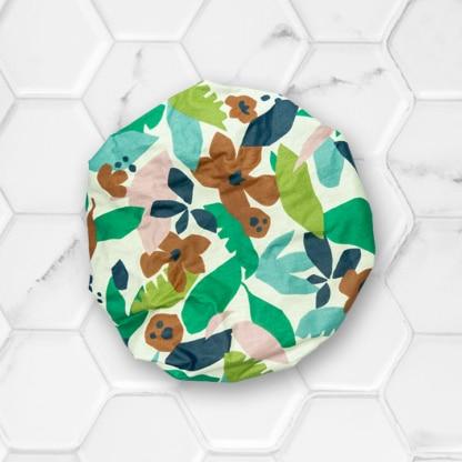 bonnet de soin capillaire - coloris vert et bleu - extérieur